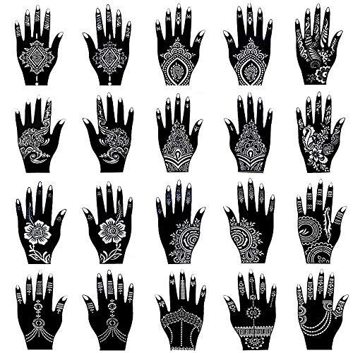Xmasir Kit de plantillas de tatuaje de henna, templos de tatuajes temporales, juego de 20 hojas, pegatinas de tatuajes árabes indios, plantillas de Mehndi, diseños de arte corporal para manos