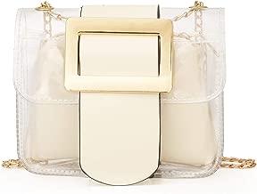 Clear Handbags 2-in-1 Tote Transparent Shoulder Bag Fashion Shoulder Crossbody Purse(White)