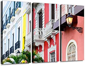 Colorful House facades of Old San Juan, Puerto Rico. 3 Pieces Print On Canvas Wall Artwork Modern Photography Home Decor Unique Pattern Stretched and Framed 3 Piece
