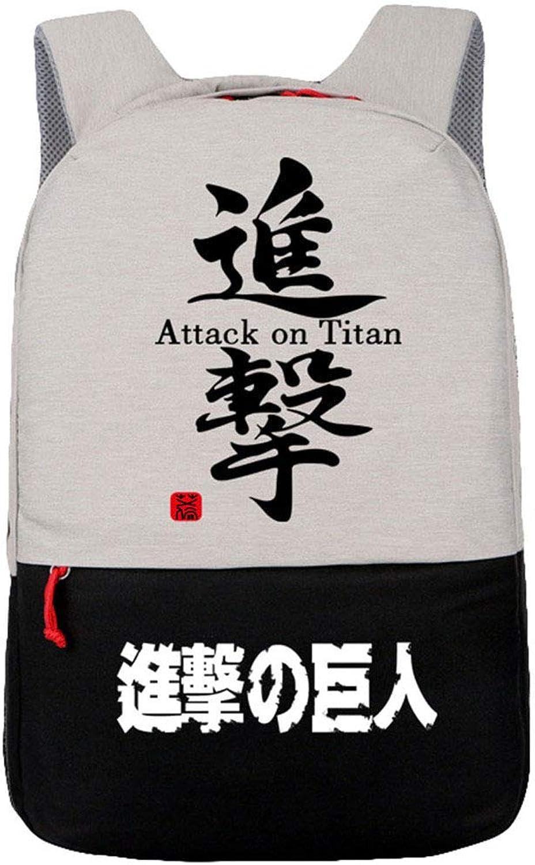 Cosstars Attack on Titan Anime Schultasche Laptop Backpack Rucksack mit USB-Ladeanschluss Gepcktasche Reisetasche Schwarz 4