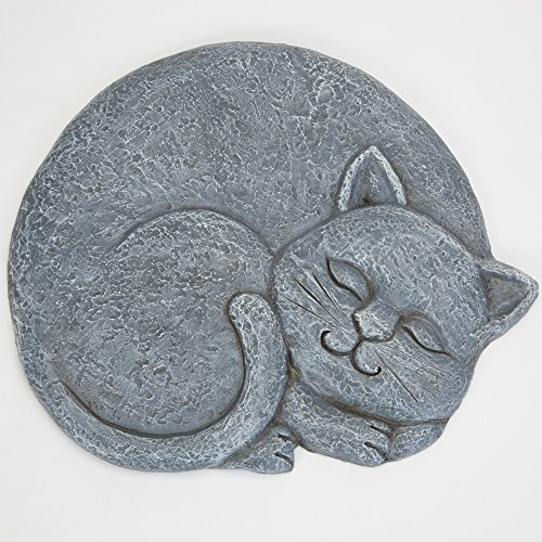 Bits and Pieces - Sleeping Cat Stepping Stone - Facing Right - Decorative Garden Stepping Stone - Yard Art