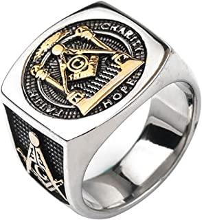 For Fox Mens Titanium Masonic Ring Square G & Pillars & All Seeing Eye Freemason Master Mason Gold 7-12