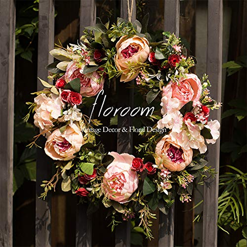 Floral Wreath, Door Wreath, Artificial Peony Wreath for Front Door 15''-16'', Front Door Decorations Wall Decor