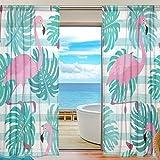 """yibaihe Fenster Vorhänge, Gardinen Flamingo modernes Muster Voile Platten Tüll Gardinen 198,1cm lang für Wohnzimmer Schlafzimmer Fenster Decor Set von 2, Textil, multi, 55""""W x 84""""L(140cm x 213cm )"""