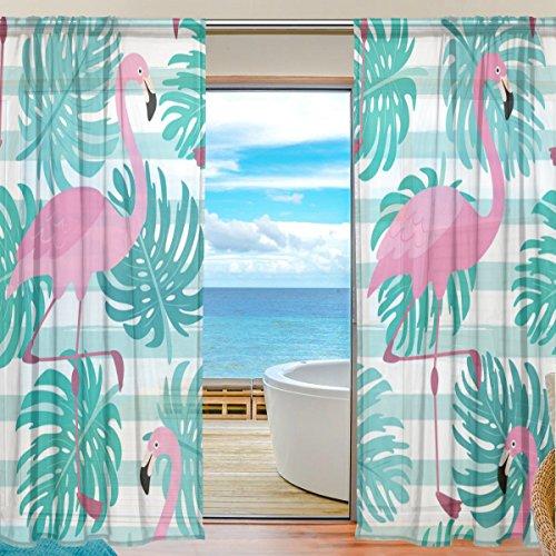 yibaihe Fenster Vorhänge, Gardinen Flamingo modernes Muster Voile Platten Tüll Gardinen 198,1cm lang für Wohnzimmer Schlafzimmer Fenster Decor Set von 2, Textil, multi, 55