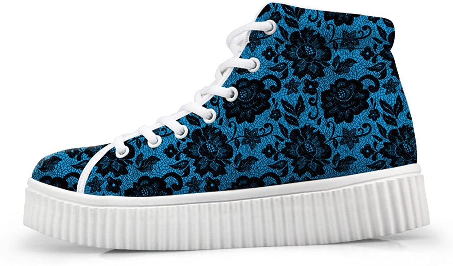 Classic Floral Print Hi Top Women Sneaker Lace Up Platform shoes US 9