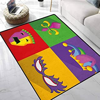 Mardi Gras Low-Profile Mats for Entry 4x5 ft Colorful Frames with Mardi Gras Icons Masks Harlequin Hat and Fleur De Lis Print Floor mats for Home