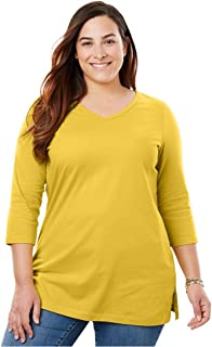 62983f1ff43 Woman Within Plus Size Perfect V-Neck Three-Quarter Sleeve Tunic
