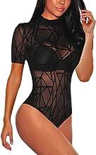 Lrady Short Sleeve Mock Neck Sheer Mesh Bodysuit for Women