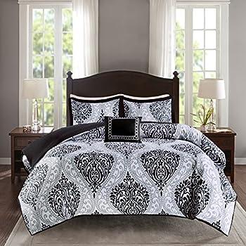 Comfort Spaces All Season Cozy Comforter Set Modern Casual Boho Bedding Set Matching Sham Decorative Pillow Coco Black/White Damask Twin/Twin XL 66 x90   3 Piece