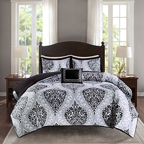 Comfort Spaces Comforter Set Ultra Soft Printed Pattern Hypoallergenic Bedding, Full/Queen(90'x90'), Coco Black/White Damask,CS10-0677