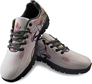 Fashion Sneakers for Women Shoes Cartoon Bike Girl and Flowers Classic Slip-On Comfort Mesh Sport Shoes for Running Walking