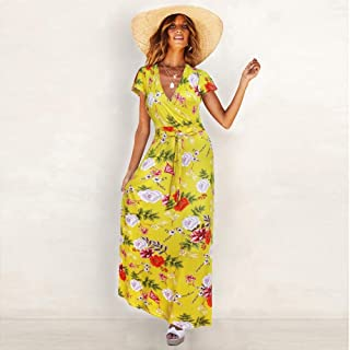 ZCLAU Summer New European and American V-Neck Print Dress Strap Dress 22024 (Color : Yellow, Size : M)