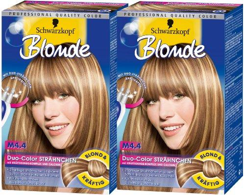 Schwarzkopf Blonde Strähnchen Stufe 3, M4.4 Duo-Color Stähnchen, 2er Pack (2 x 1 Stück)