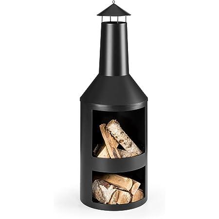 Blumfeldt Westeros - Brasero de jardin , Poêle-cheminée , Pour feu de bois , Large foyer visible ouvert , Ø 45cm , Soudures propres ,