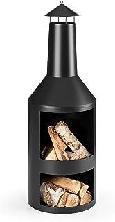 blumfeldt Westeros - Gartenofen, Terrassenofen, Holzofen, überdacht, offene Feuerkammer, 5mm Materialstärke, verschweißtes Stahlblech, Brennholzvorrat im Bodenraum, inkl. Schürhaken, schwarz