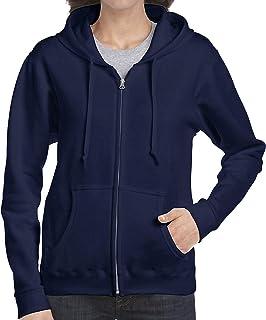 Gildan. 5pcs Navy Zip Up Hoodie Blank Plain Hooded Sweatshirt Sweater Female Ladies