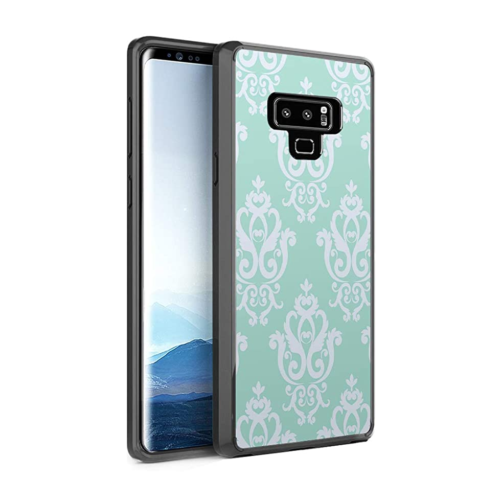 Capsule Case Compatible with Galaxy Note 9 [Shockproof Bumper Cases Non Slip Scratch Resistant PC Hard Back Protective Black Case] for Samsung Galaxy Note 9 - (Mint Damask)