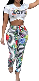FSSE Womens 2 Piece Outfits Ruffle Crop Top Long Pants Floral Print Jumpsuit Romper