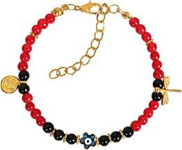 Evil Eye Protection Star Amulet Royal Red Black Accents Dragonfly Magic Power Symbol Lucky Charm Bracelet