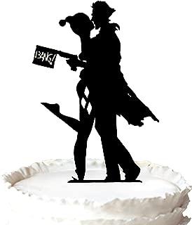 Kaishihui Joker and Harley kissing Wedding Cake Topper with Gun
