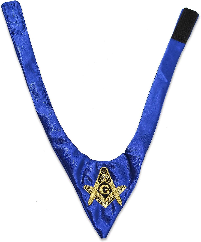 Square & Compass Satin Masonic Cravat - [Blue]