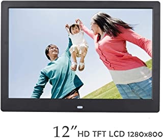 Digital Photo Frame,12 Inch 1280 * 800 Digital Photo Frame with Card/USB Multi- MP3/MP4 Player with Display Stand Black