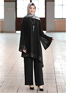 Elegant Two Pieces Muslim Sets Worship Service Robe Suits Sequined Glossy Robe Tunic Dubai Ramadan Robes (Color : Black su...