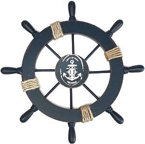 FENICAL Steuerrad mit Anker Holz Wanddeko Schiffssteuerrad Schiffslenkrad Maritime Dekoration Dunkelblau