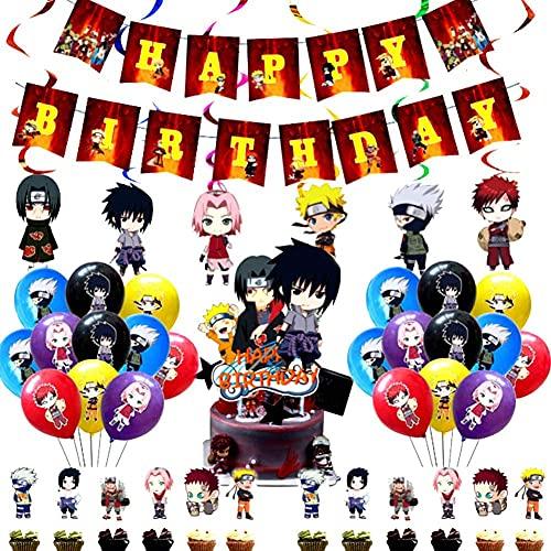 Naruto Fiesta Temática de Naruto 44PCS Juego de Temática Naruto Decoraciones Fiestas Infantiles Suministros Fiestas de Cumpleaños Decoración Tartas Globos de Látex y Pancarta Feliz Cumpleaños