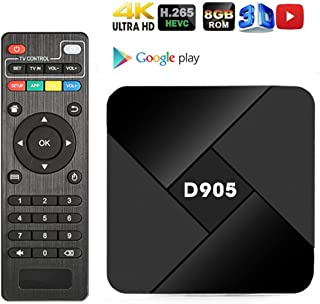 Android TV Box, EMISH 2019 Newest Android 7.1 TV Box Quad-core 1GB RAM 8GB ROM 4K 3D H.265 WiFi 100M LAN HDMI Set Top Box