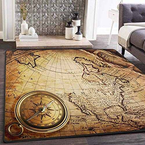 Tapijt, antieke look, 63 x 48 cm, op een kaart van wereldkaart, voor de woonkamer 80x58 inch Image 999