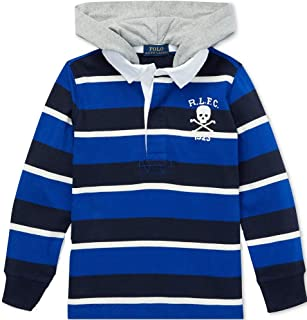 Polo Ralph Lauren Boys Striped Hooded Cotton Rugby Shirt, Royal Multi, Size 4/4T
