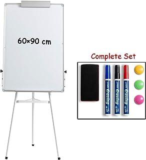 DOEWORKS 90 cm x 60 cm Pizarra de trípode Blanca, Pizarra magnética de borrado en seco/Pizarra de caballete de pizarra, Pizarra de soporte de altura ajustable