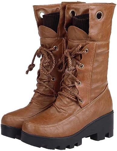 femmes Ladies Martin bottes bottes Plat épais avec Talon Heels Lacet jusqu'à Lacets de Combat armée Bottes de Cheville,jaune,38EU  avec 100% de qualité et 100% de service