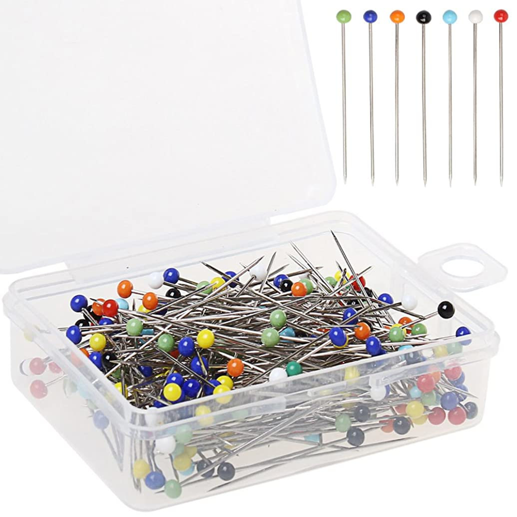 Color Scissor 250 Pieces Sewing Pins Ball Glass Head Pins Straight Quilting Pins For Dressmaker Jewelry Decoration