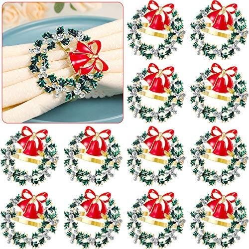 Christmas Napkin Rings Set Christmas Wreath Napkin Ring Metal Napkin Buckle Ring Green Diamond Alloy Napkin Ring for Christmas Thanksgiving Dinner Party Serviette Buckles Napkins Rings Set (12)