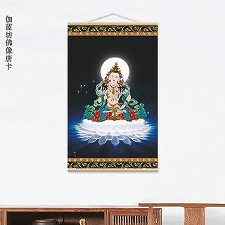 ホワイトロータスヴァジュラサトヴァタンカ仏像無垢材リールハンギングキャンバスポートレート華山寺タンカ,01
