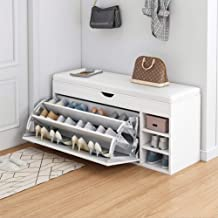 CYY Shoe Changing Cabinet Stool, White Shoe Storage Bench With Soft Cushion, Household Entry Door Combined Leather Tipping...