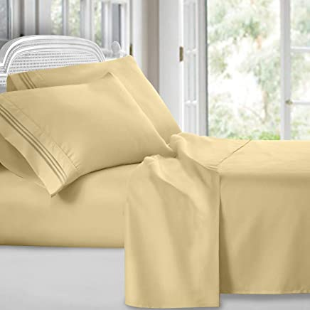 Clara Clark Premier 1800 Collection Deluxe Microfiber 3-Line Bed Sheet Set,  Twin Size,  Custard Mellow Yellow