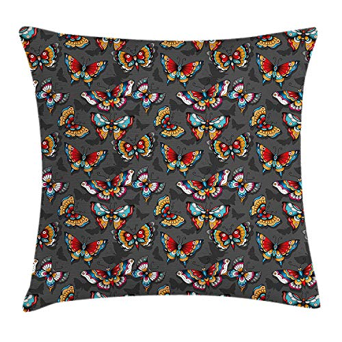 FAFANI Butterfly Throw Pillow Cushion Cover, Cartoon Style Vibrant Color Animals on Dark Background with Shadows Retro, Decorative Square Accent Pillow Case, 18 X 18 inches, Grey Multicolor