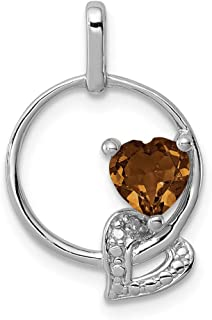 925 Sterling Silver Whiskey Quartz Diamond Pendant Charm Necklace Gemstone Fine Jewelry Gifts For Women For Her