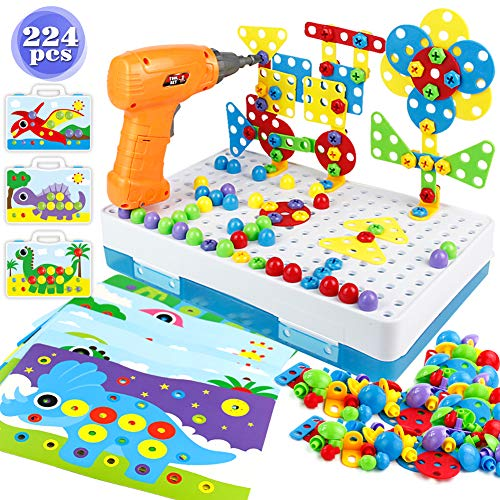yoptote Juguetes Montessori Puzzles 3D Mosaicos Infantiles Juguetes Educativos con Taladro Eléctrico Desmontable Bloques Construccion Niños Herramientas Regalos para Niños 3 4 5 6 Años (224 PCS)