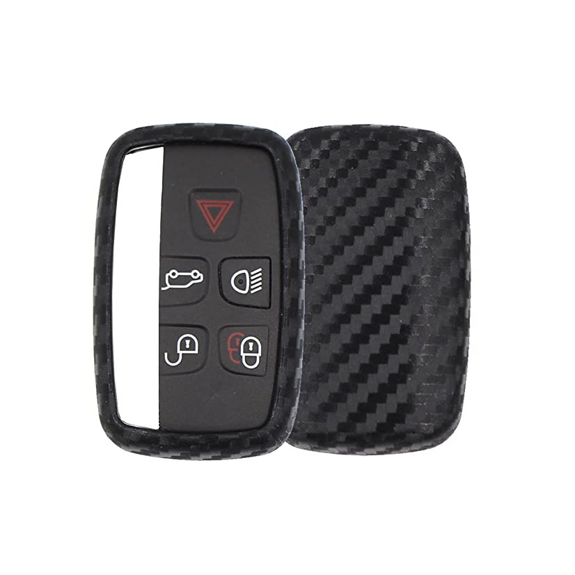 M.JVisun Soft Silicone Rubber Carbon Fiber Texture Cover Protector For Land Rover, Car Keyless Entry Fob Case For Land Rover Discovery Sport Discovery 4 Freelander 2 Range Rover Evoque -Round Keychain