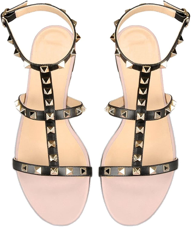 AIWEIYi Womens Rivets Roman Style Gladiator Sandals Flats Thongs Black