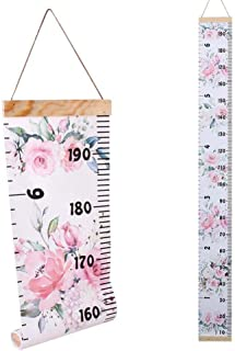 1PCS 8'' x 79'' Kids Baby Growth Chart Ruler Roll-Up Removable Canvas Wall Ruler Height Measure Chart Flower Painting Hang...