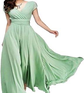 09d7b99d6d Tootless-Women Chiffon Bohemian Elastic Waist Short Sleeve V Neck Party  Evening Dress