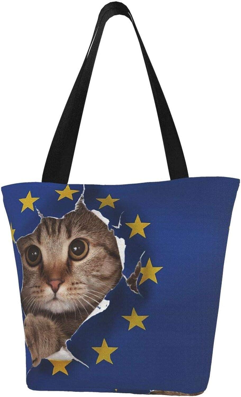 Vintage European Union Flag Novelty Cat Themed Printed Women Canvas Handbag Zipper Shoulder Bag Work Booksbag Tote Purse Leisure Hobo Bag For Shopping