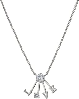 "Blue by Betsey Johnson Silver and CZ ""Love"" Pendant Necklace"