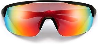 Ultra Light Action Unisex Sporty Shield Sunglasses Black Frame Orange Burst Lenses with Microfaber Bag